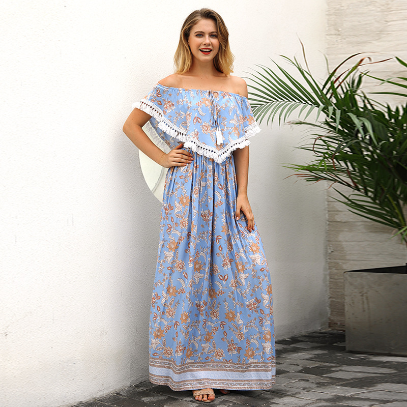 Yovamoo 2018 Summer Of The Shoulder Dresses Women Beach Holiday Lady Sexy Tassel Blue Floral Print Bohemian Long Dress