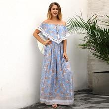 Yovamoo 2018 Summer Of The Shoulder Dresses Women Beach Holiday Lady Sexy Tassel Blue Floral Print Bohemian Long Dress