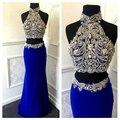 Luxuriante Royal Blue Vestido de Noite Alta Pescoço Duas Peças Vestidos de fiesta Novo Partido do baile de Finalistas Vestidos Abendkleider Lang 2017