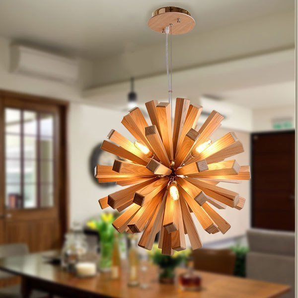 Solid Wooden Art Pendant Ligh dining room lounge bar Korean Japanese creative personality Nordic bar pedant lamp ZA MZ1
