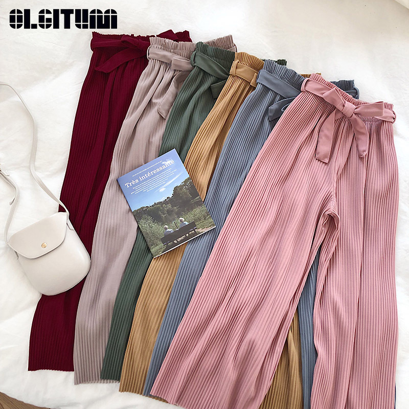 New 2020 Korean Women Wide Leg Pants Loose High Waist Solid Pants Casual Vertical Soft Pleated Pant Trousers Femme