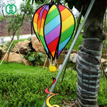 """WHISM Large 55"""" Hot Air Balloon Wind Spinner Striped Kite Rainbow Windsock with Tails For Outdoor Garden Decor Kids Toy"""