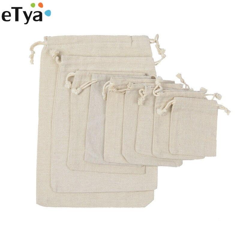 ETya Reusable Cotton Drawstring Shopping Bag Women Men Travel Shopper Tote Storage Bags