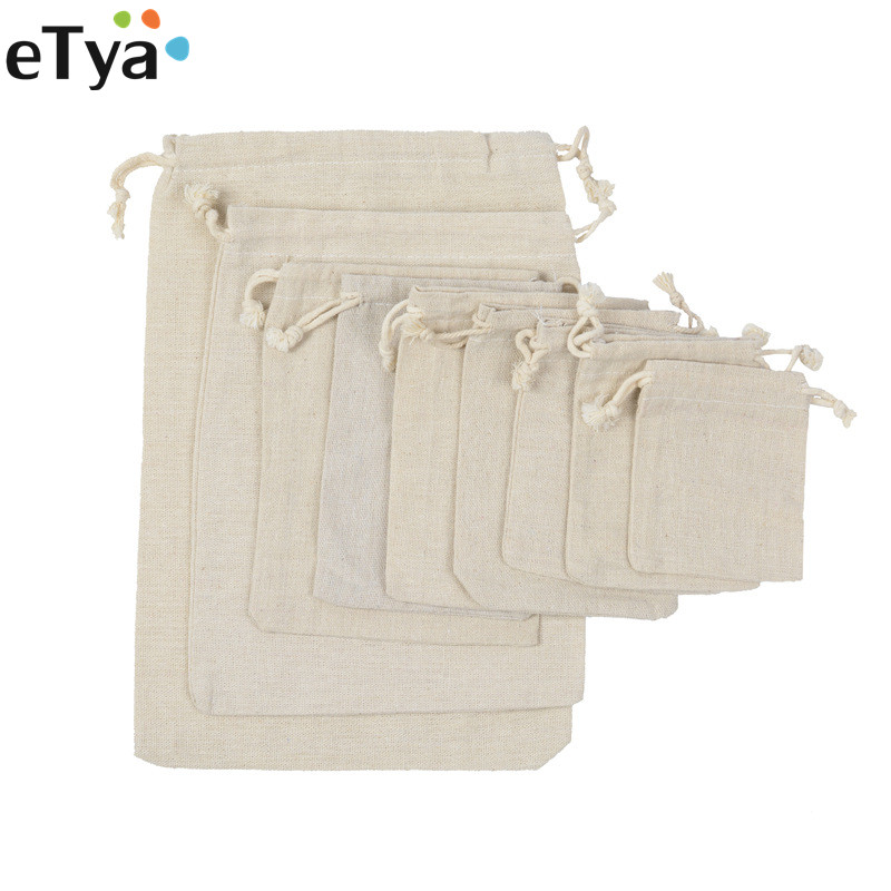 ETya Reusable Cotton Drawstring Shopping Bag Women Men Travel Shopper Tote Storage Bags