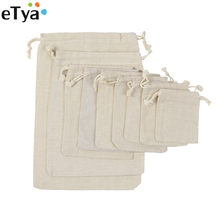 eTya Reusable Cotton Drawstring Shopping Bag Women Men Travel Shopper Tote Storage Bags(China)