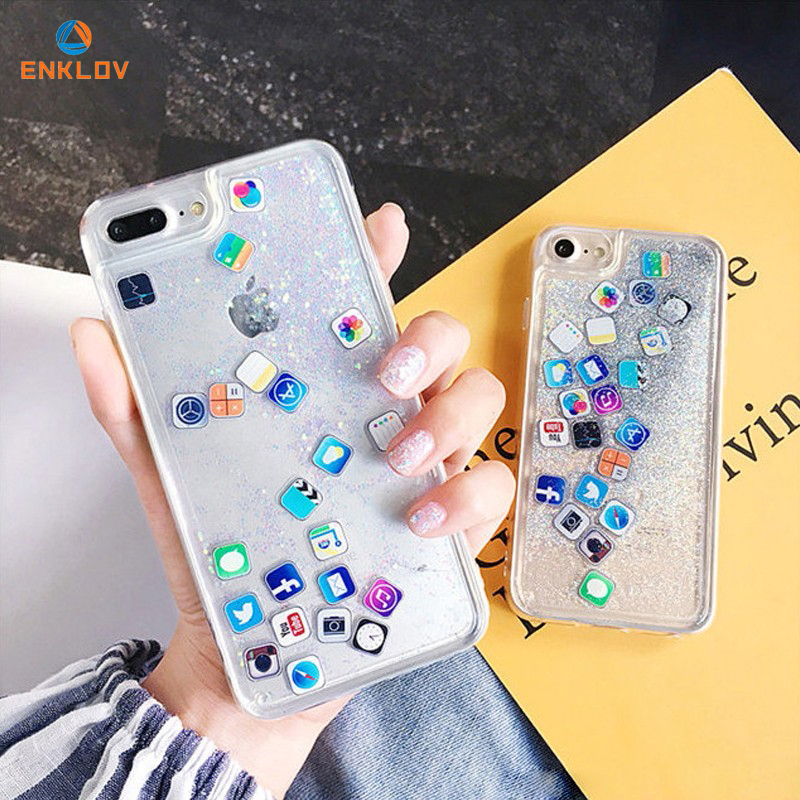 Fashion Mobile APP Icon Phone Cases For iPhone For IPhone 6 6s 7 8 Plus Funny Glitter Quicksand Full Cover For IPhone X XS MAX image