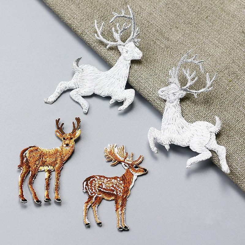 1PC Personality Cute Animals Deer Patch Plně vyšívané železo na DIY nášivky Aplikační příslušenství