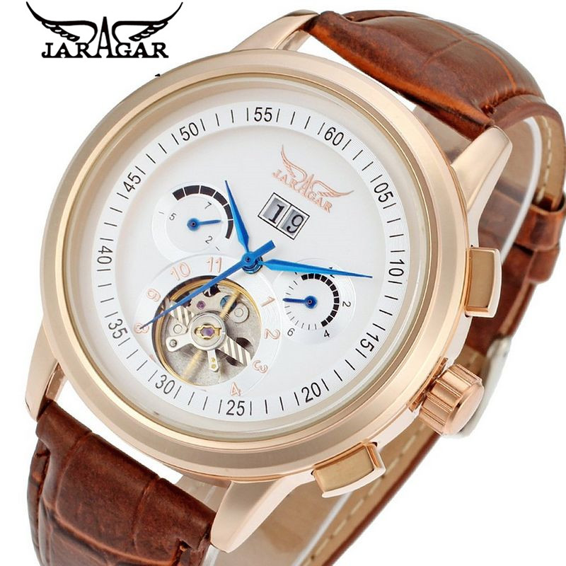buy 2012 fashion mens brown wristwatch leather strap tourbillon automatic mechanical watch men. Black Bedroom Furniture Sets. Home Design Ideas