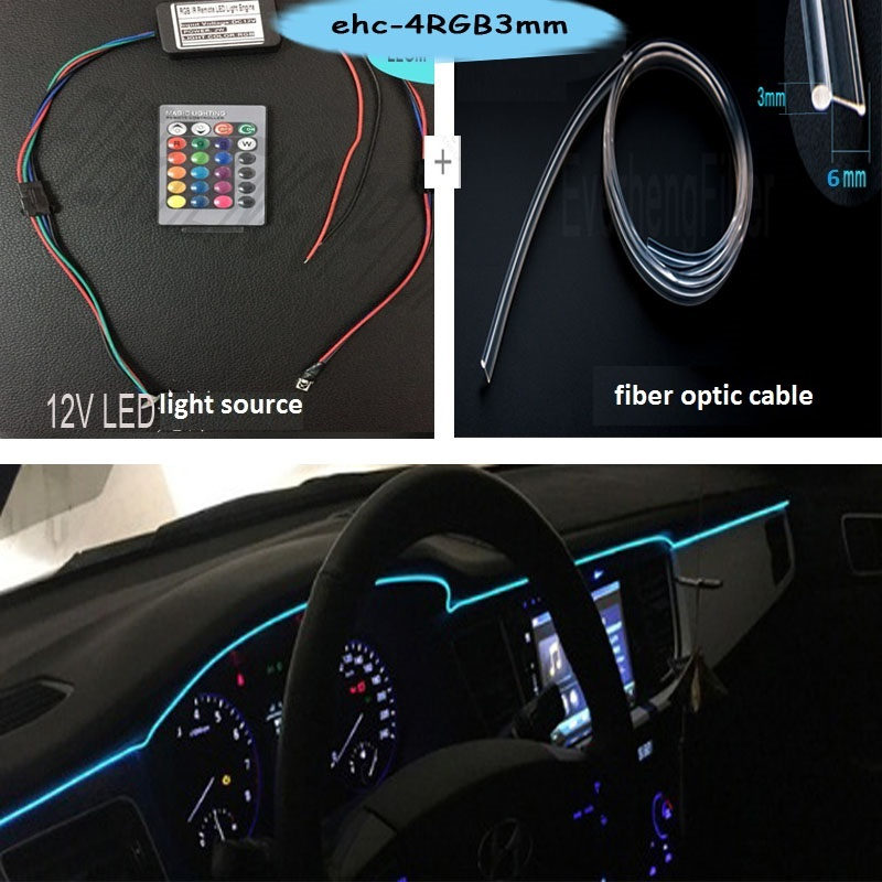 Mini LED 12v Light Source RGB Colors And Side Glow Optic Fiber With Skirt Varied Color For Car Interior Decoration