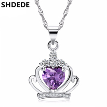 SHDEDE Famous Cubic Zirconia CROWN Pendant Necklace For Women Wedding Fashion Jewelry Female Ladies Princess Accessories - цена 2017