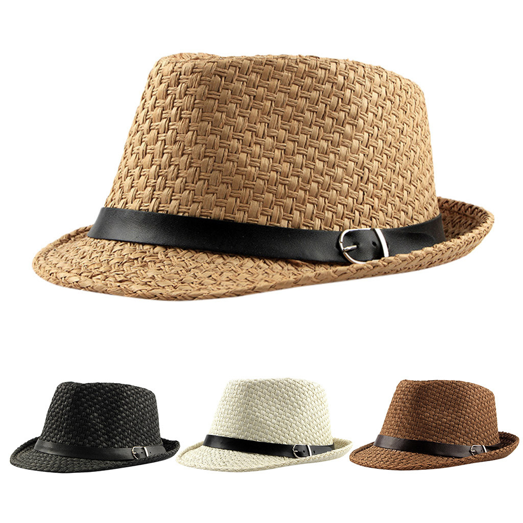 Men Women Summmer Straw Raffia Short Brim Panama Fedora Trilby Hat Gentleman Cap