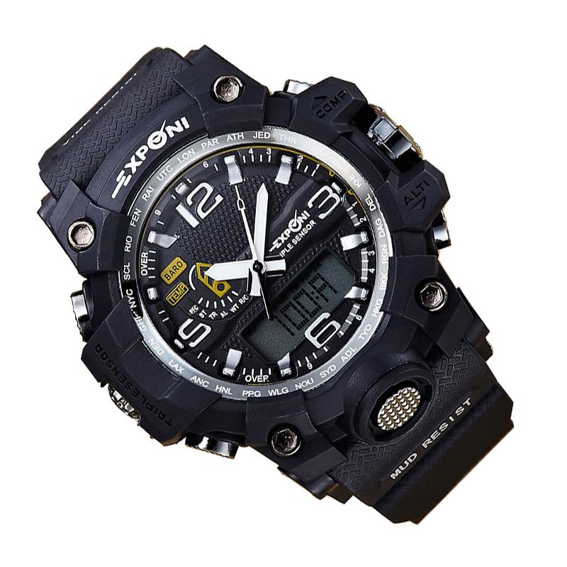 Prix pour Hommes de Montres LED Afficher Plusieurs Temps Automatique Montre Étanche Hommes De Mode Montres Qualité Horloge Montre-Bracelet g-choc