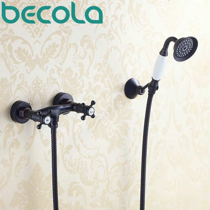 Free Shipping Wall Mounted Black Antique Brass Faucet Bathroom Bathtub Mixer Tap Hand Shower Head Shower Faucet Set GZ-8304R free shipping polished chrome finish new wall mounted waterfall bathroom bathtub handheld shower tap mixer faucet yt 5330