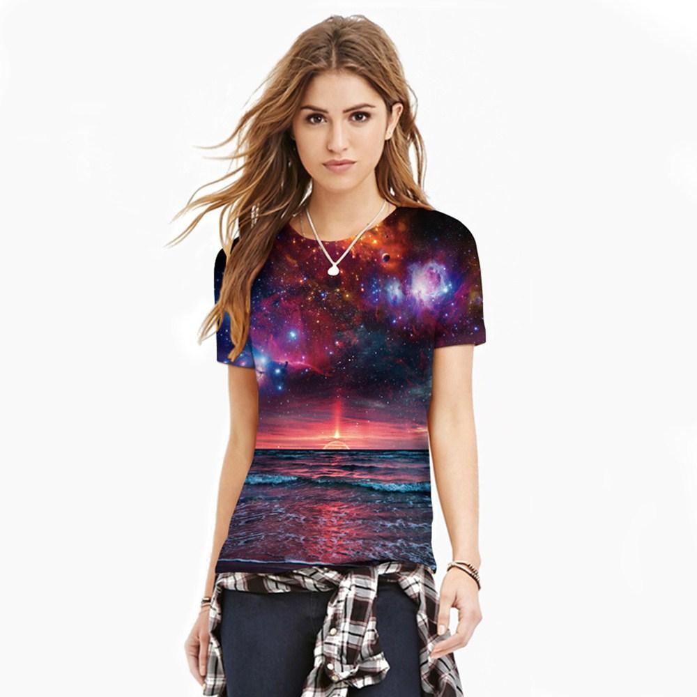 HTB1MKfTQXXXXXXLXFXXq6xXFXXXn - T-shirt blue sky digital print 3D short-sleeved women's shirt