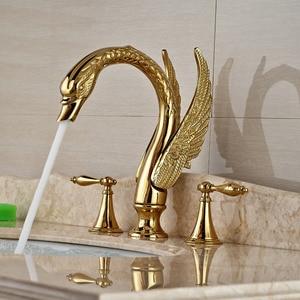 Image 2 - صنبور لحوض غسيل ذهبي بمقبض مزدوج على شكل بجعة ، صنبور خلاط لحوض الحمام مع الماء الساخن والبارد