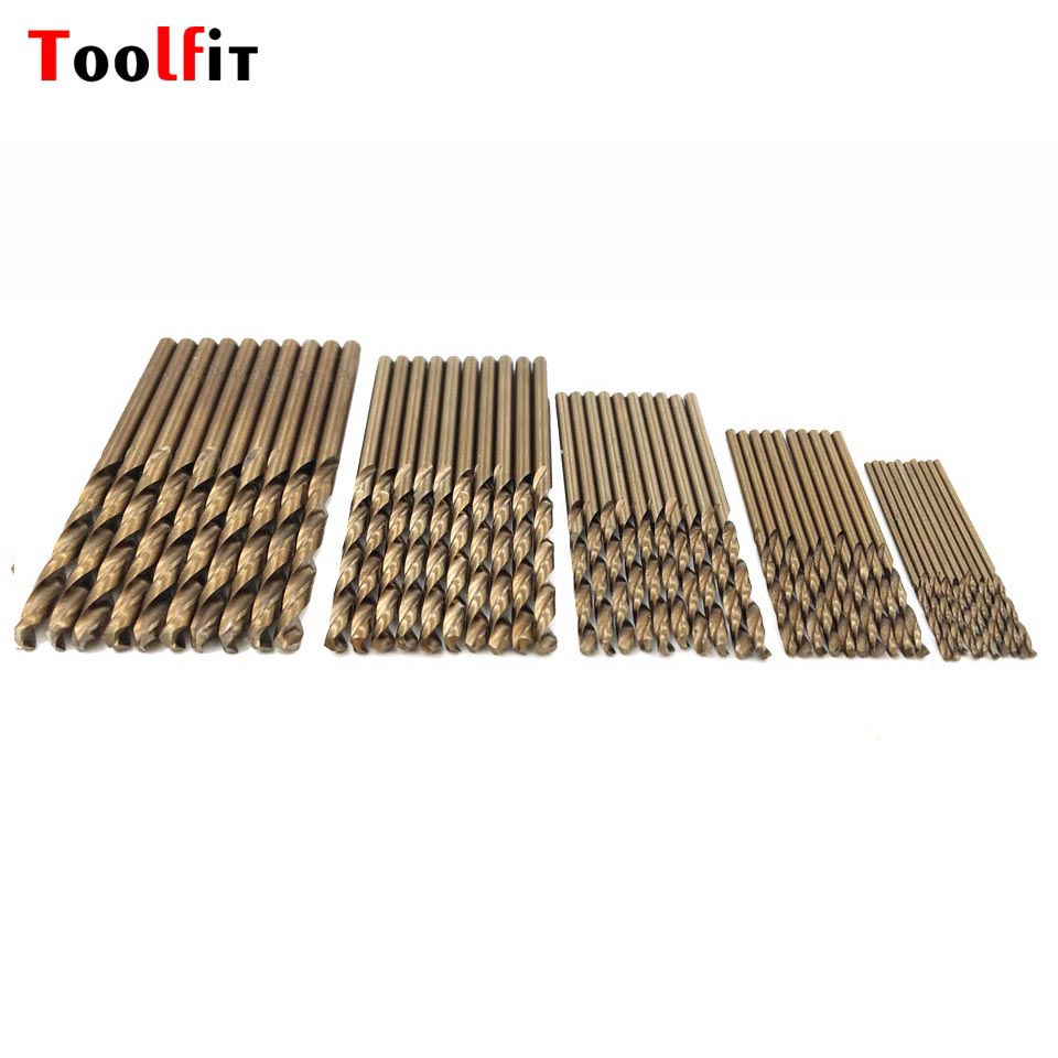 Toolfit 50Pcs/Set HSS Coated Titanium Twist Drill Bit 1/1.5/2/2.5/3mm  For Stainless Steel Drilling Bits Power Tools Accessories 50pcs set twist drill bit set saw set 1 1 5 2 2 5 3mm hss high steel titanium coated woodworking wood tool drilling for metal