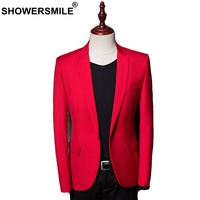 SHOWERSMILE Red Blazers Men Smart Casual Slim Fit Suit Jacket Male British Plus Size Formal Autumn Spring Wedding Clothing New