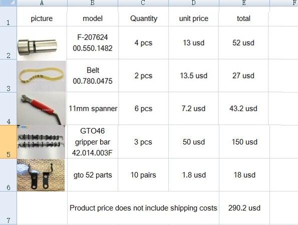 4 pezzi cuscinetto F-207624 00.550.1482, 2 pezzi Cintura 00.780.0475, 6 pezzi 11mm chiave