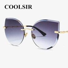 Fashion Oversized Frameless Sunglasses Women Rimless Cat Eye Sun Glasses Alloy Legs Crystal Lens Luxe Brand Designer Big Shades