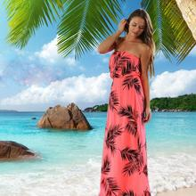 2017 summer spring High Quality Beach Long New European and American Tropical Style Wrapped Chest Off Shoulder Maxi Dress