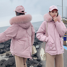Women Winter Coats Short Fur Collar Parka Hooded Slim Korean Jacket For Female Cotton Winter Parka Down Basic Jackets цены онлайн