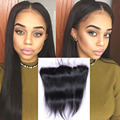13*4 Straight Brazilian Lace Frontal Closure pre plucked lace frontal Bleached Knots Virgin Brazilian Human Hair Lace Frontal