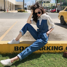Women Fashion Korean Short Sleeve Sashes Spliced Denim Jumpsuit Female Streetwear Hip Hop Loose Casual Harem Pant Jeans Trousers(China)