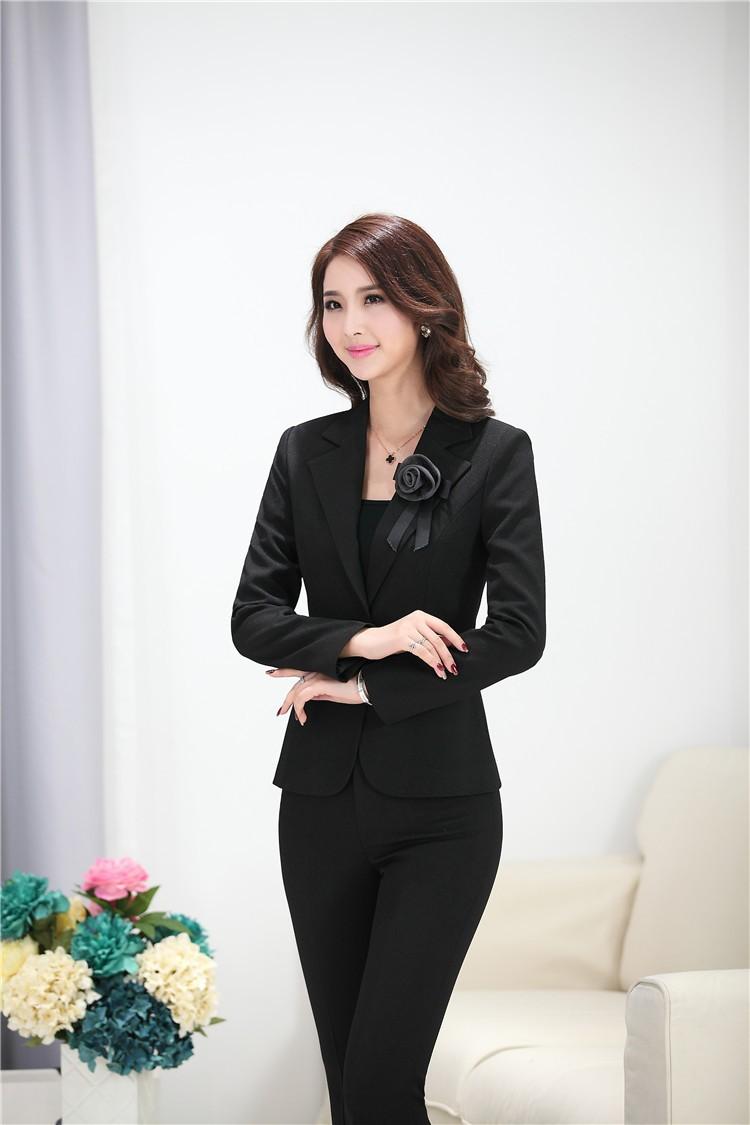 0a6b212d0a9b Elegant Grey Fashion Female Blazers Uniforms Office Ladies Work Wear ...
