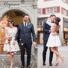 Mryarce robe de mariage כלה קצרה שמלות 3D תחרה ארוך שרוולי גב פתוח באורך הברך שמלה
