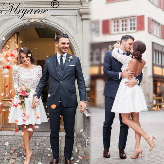 b0f886c05c7 Mryarce robe de mariage courte robes de mariée en dentelle manches longues  dos ouvert genou longueur