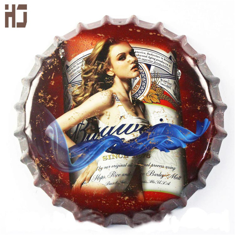Vintage Tin Sign 35cm around Budweiser beer cover Beer Sign Bar pub home Wall Decor Retro Metal Art Poster