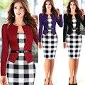 2017 roupa primavera e no verão das mulheres populares longo-sleeved grade costura Jaqueta cinto e pacote hip lápis Vestidos