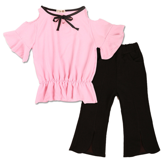 65743dbbdf1 Girls Set Clothes Kids Chiffon Top Pant Two Piece Children Summer Suit  Girls Boutique Outfits 3 4 5 7 8 9 10 11 12 13 Years