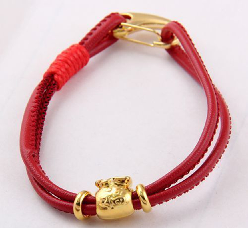 Wholesale 1Pcs SHA MBA Lara Charm Leather Bracelet Lobster Clasp Tibetan Gold Fubao image