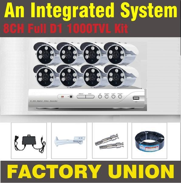 CCTV System 8ch 1000TVL CCTV Cameras Video System Home DVR Kit Security Dvr 8 Channel Full
