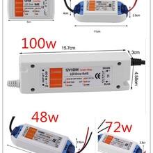 3 года гарантии DC 12 В преобразователь зарядное устройство переключение 18 Вт 28 Вт 48 Вт 72 Вт 100 Вт светодиодный адаптер трансформатор блок питания для полосы