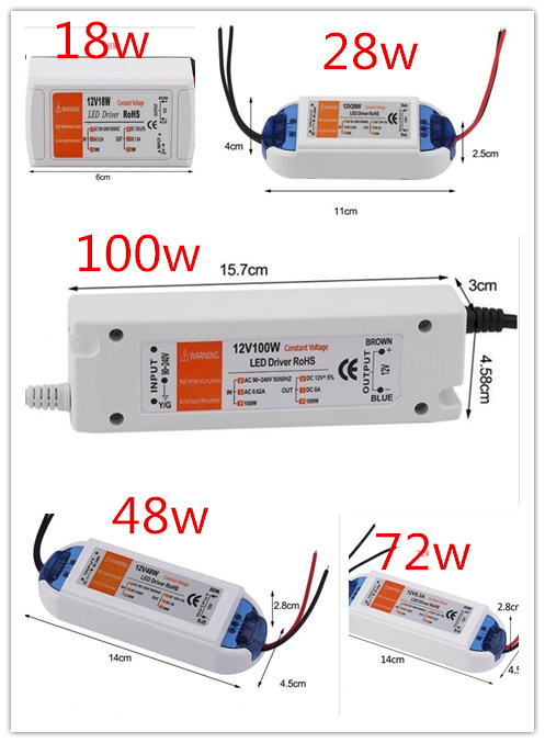 3 года гарантии DC 12V конвертер зарядное устройство переключение 18W 28W 48W 72W 100W Светодиодный драйвер адаптер трансформатор источник питания дл...