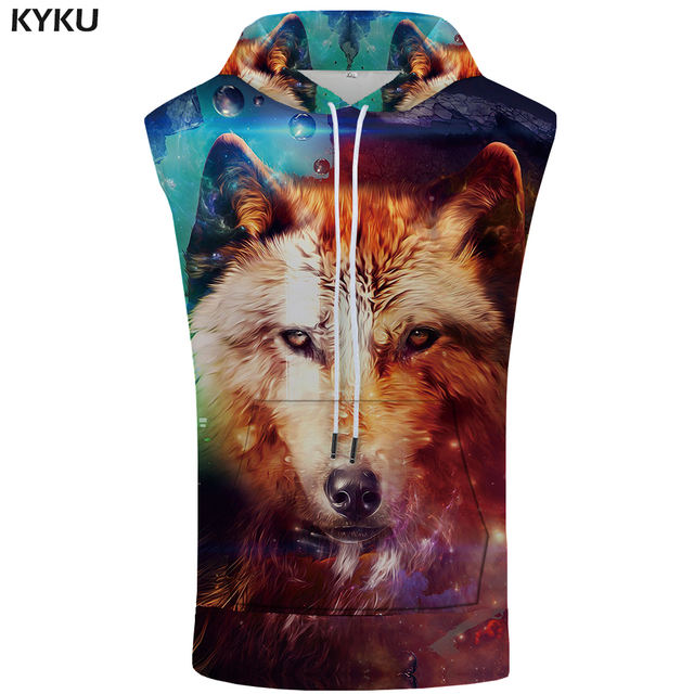 KYKU Brand Wolf Sleeveless Hoodie Starry Sky Shirts Funny Bodybuilding Color Fitness 3D Singlets Stringer Mens Clothing Muscle