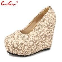 ผู้หญิงรองเท้าเวดจ์เท้ารอบผู้หญิงแฟชั่นตื้นปากส้นแพลตฟอร์มปั๊มผู้หญิงเซ็กซี่รองเท้าแต่งงานขนาด35-39 Z00294