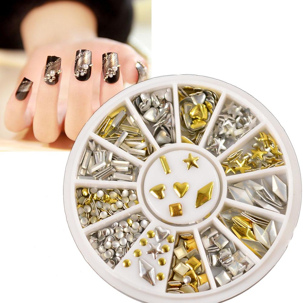 120pcs Gold Silver Metal Nail Art Decor Rhinestones Tips Metallic Studs China Mainland