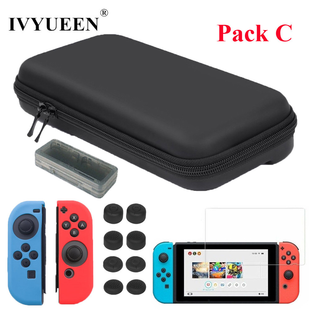 лучшая цена IVYUEEN Protective Hard Portable Travel Carry Case Shell Pouch for Nintend Switch NS Console & Accessories for Jon Con Grip Caps
