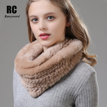 [Rancyword] Soft Real Rabbit Fur Scarves Shawl Wrap Girl Natural Neck Scarf Collar Women Winter Warm 2018 New RC1380
