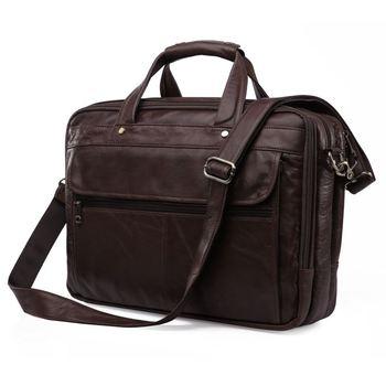High Quality First Layer Genuine Leather Men Messenger Bags Vintage Men's Bag 15.6 Laptop Handbag Briefcase Portfolio #MD-J7146