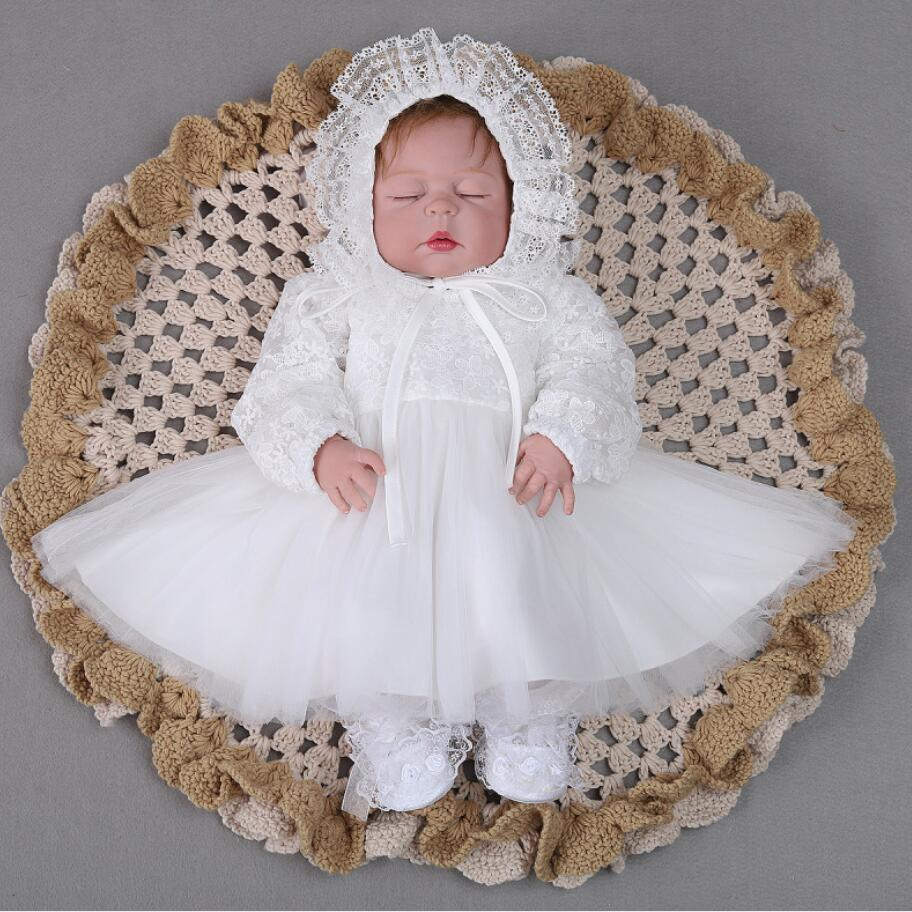 Hollow Lace Long Sleeves Red White Baby Girl Baptism Christening Dress 1st 2nd Birthday Infant Vestido Party Princess Dress HatHollow Lace Long Sleeves Red White Baby Girl Baptism Christening Dress 1st 2nd Birthday Infant Vestido Party Princess Dress Hat