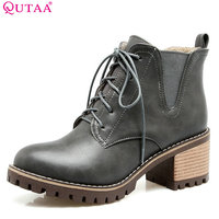 QUTAA 2018 Women Ankle Boots Lace Up Fashion Round Toe Pu Leather Square Mid Heel Solid Black Fur Women Boots Size 33 43