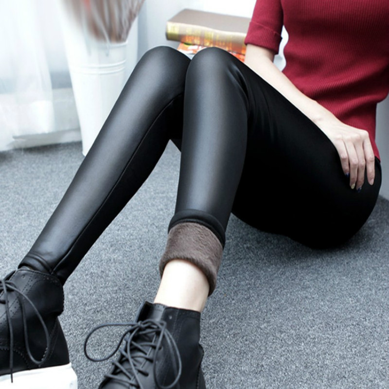 Autumn And Winter Thickening Imitation Leather Leggings Large Size Women's Pants Stretch Anti-falling Warm Leather Pants