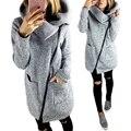 Moda Abrigo de Lana Chaqueta de Cremallera Oblicua Mujeres Otoño Invierno Ropa de Abrigo Con Cuello Slim fit Más Tamaño Cremallera Chaqueta de Las Mujeres