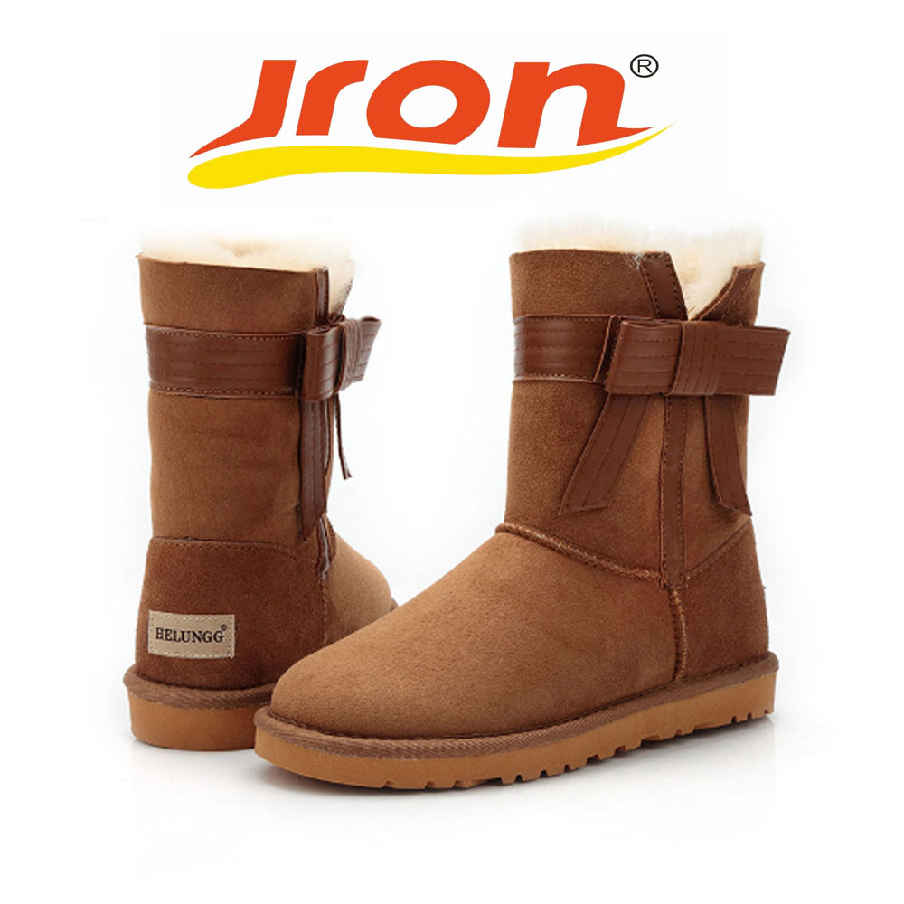 Jron Genuine Leather Mid-Calf Bow StyleWoman Shearling Snow Boots Rubber Sole Anti-slip Function Warm Boots For Winter double buckle cross straps mid calf boots