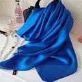 Новый Женщины Шелковые Шарфы и Пляж Простой Платок Женская Сплошной Цвет Шарф Роскошный Wrap Нового Дизайнера SC2922