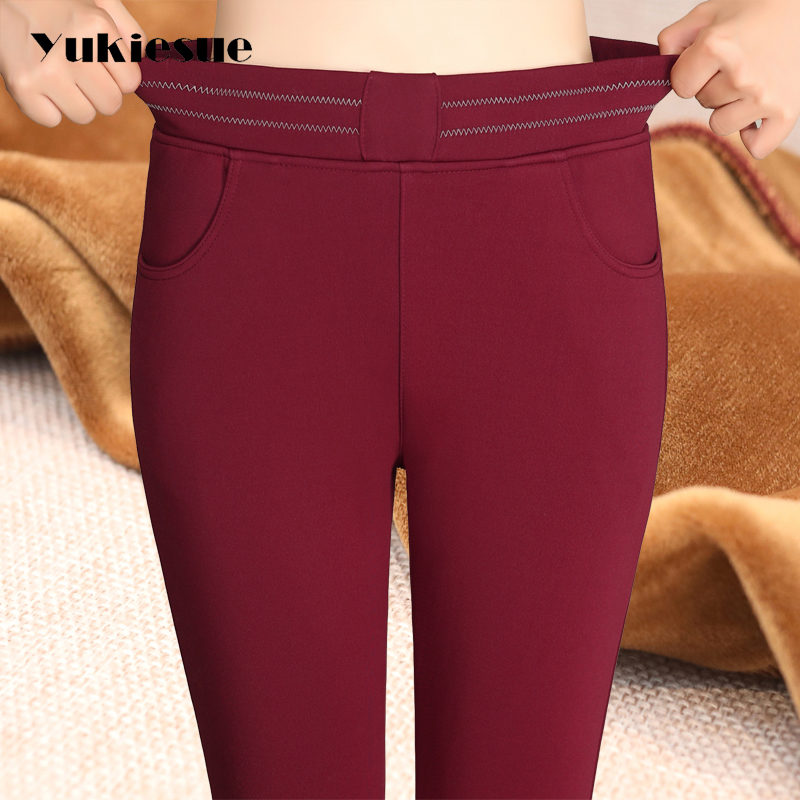 Women   Pants   Trousers work formal Winter High Waisted Outer Wear Women female Fashion Slim Warm Thick cotton   Pants     capris   skinny